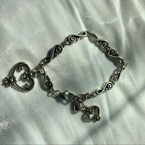 Brighton Silver Crystal Heart Charm Bracelet